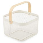 modern white basket with wood handle