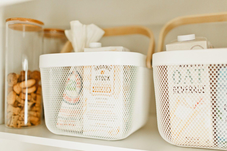 ikea white baskest with wood handle pantry ideas
