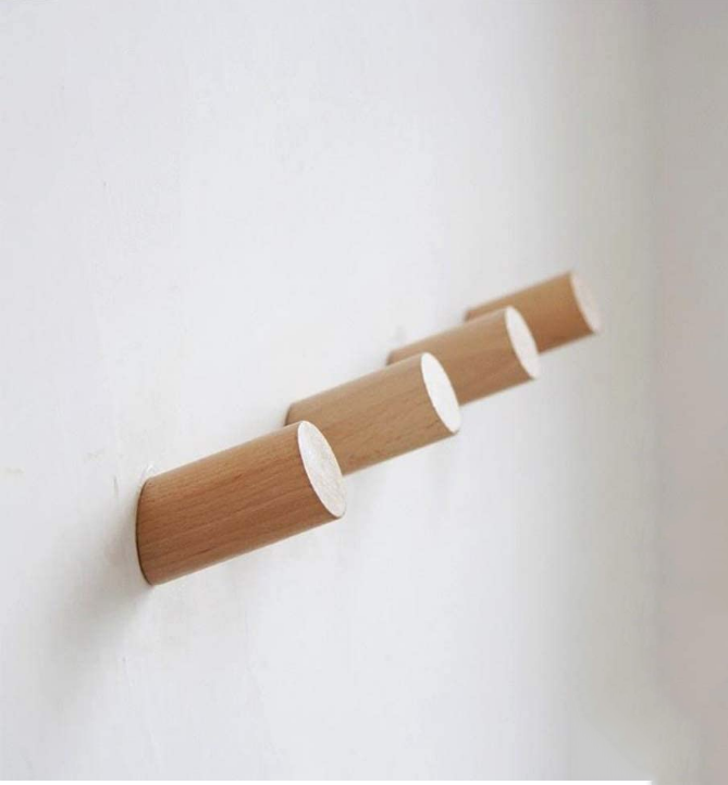 wooden wall mounted hooks