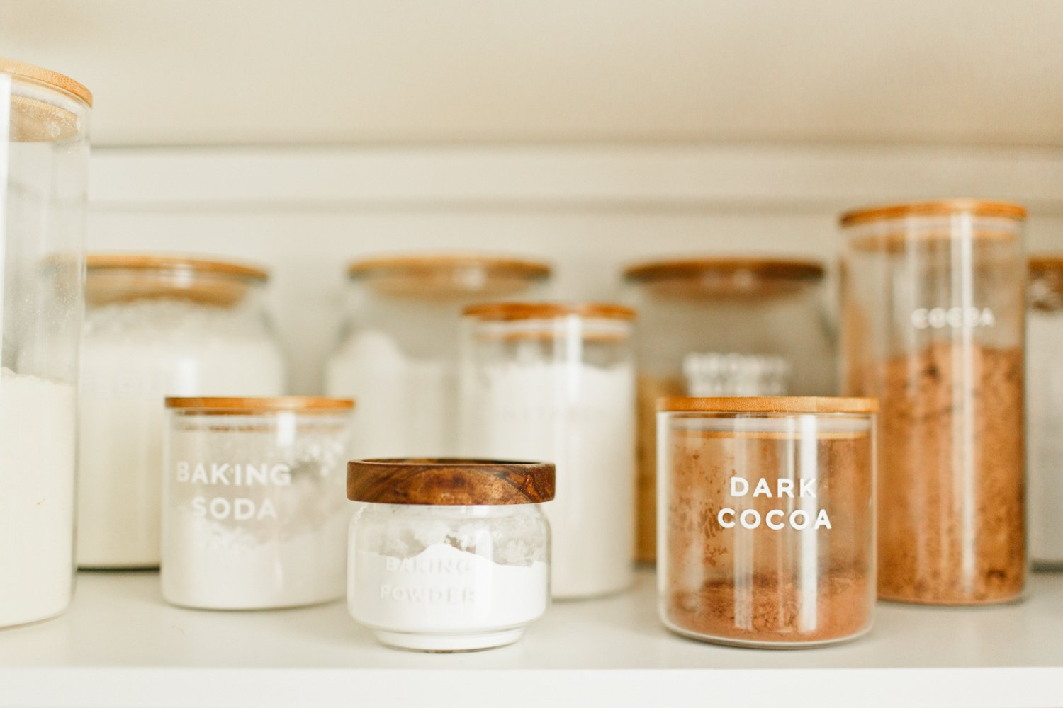 pantry organization with glass jar containers