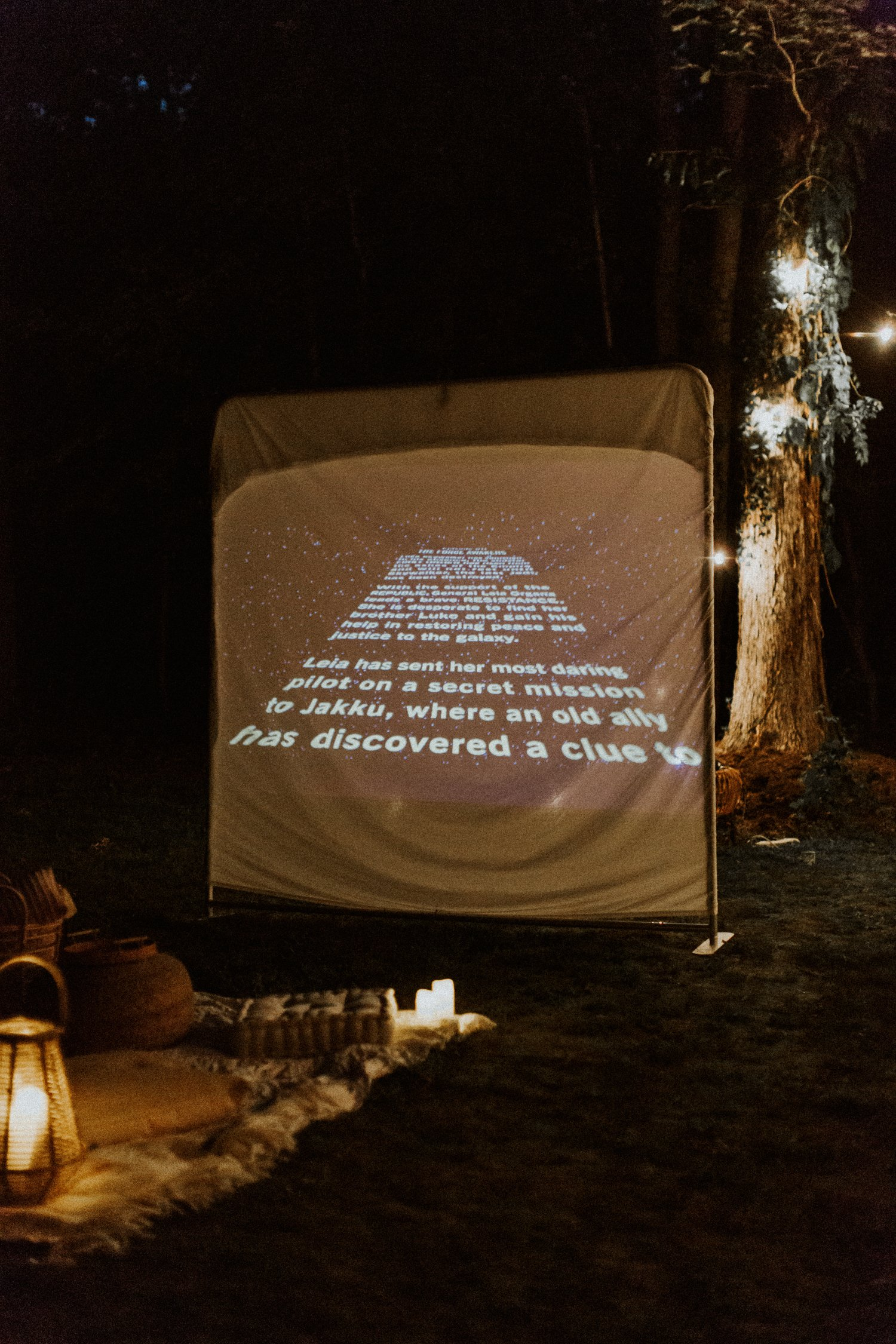 outdoor movie date night setup