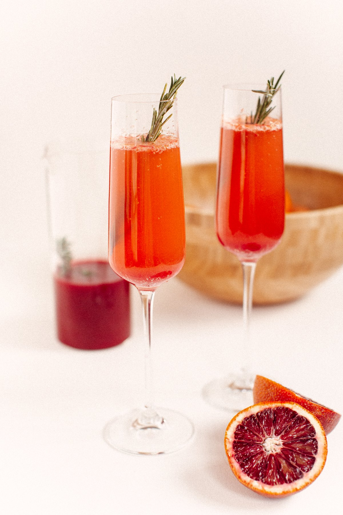 freshly squeezed blood orange mimosas