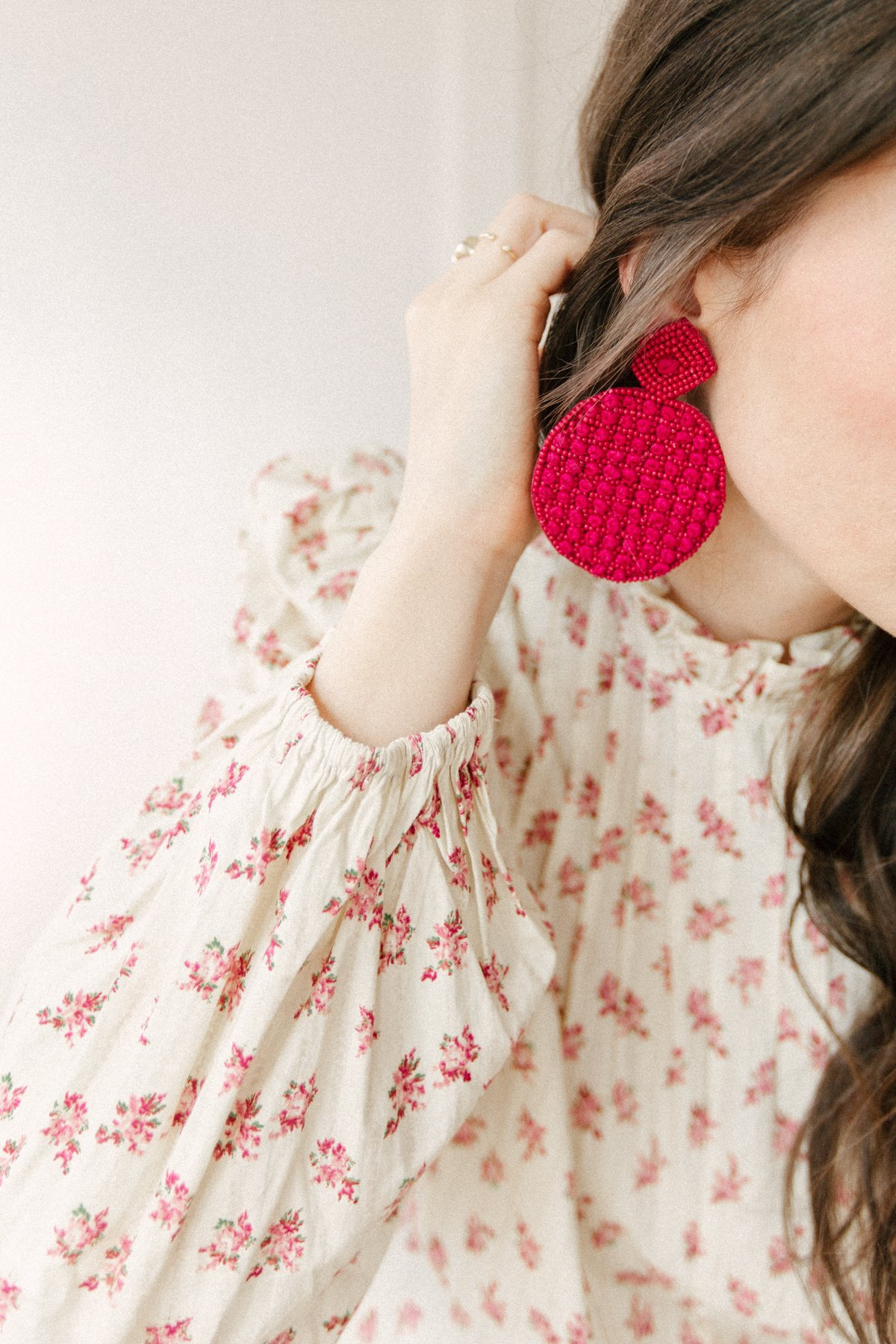 pink earrings romantic outfit idea