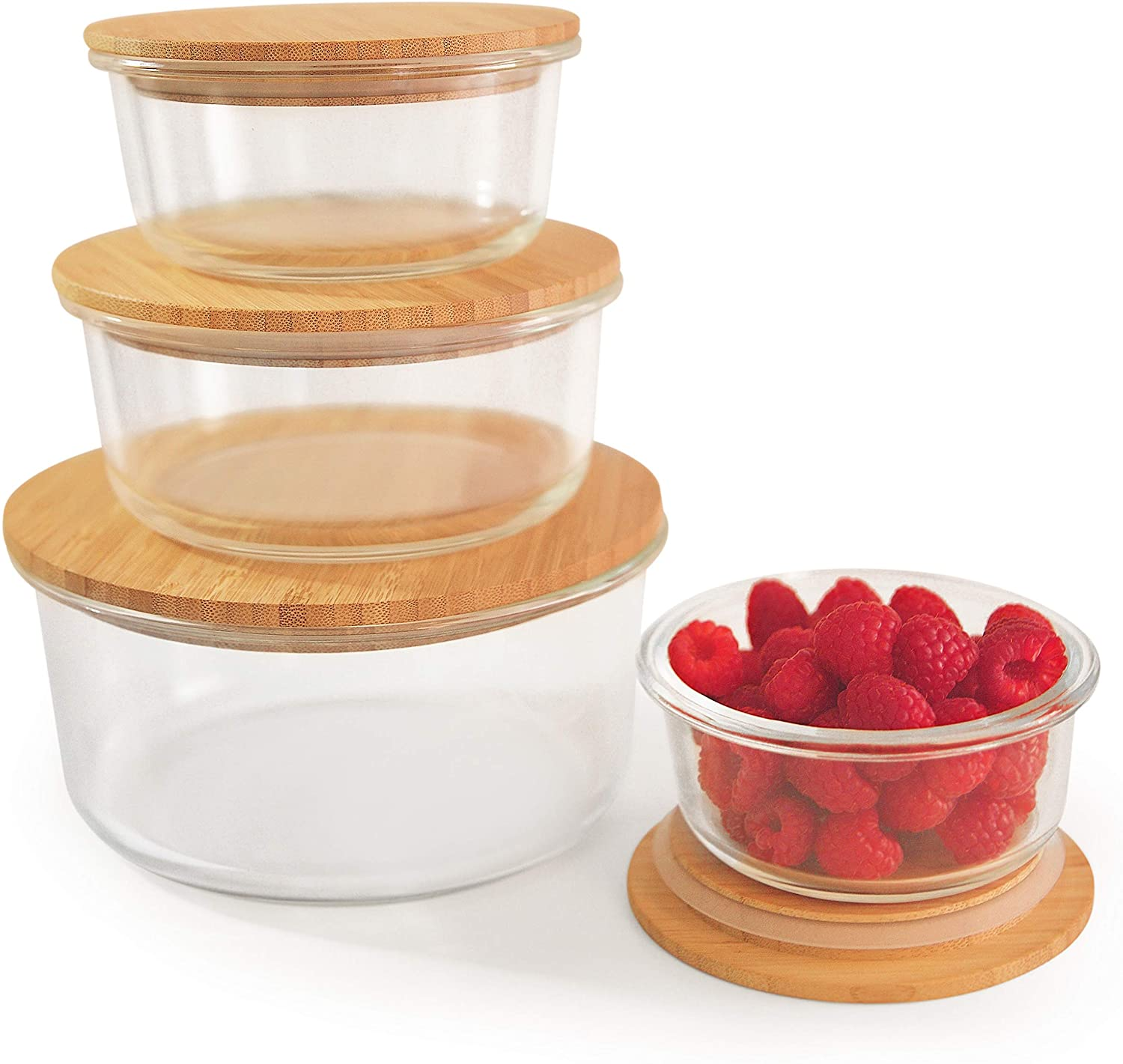 glass storage containers with wooden lid