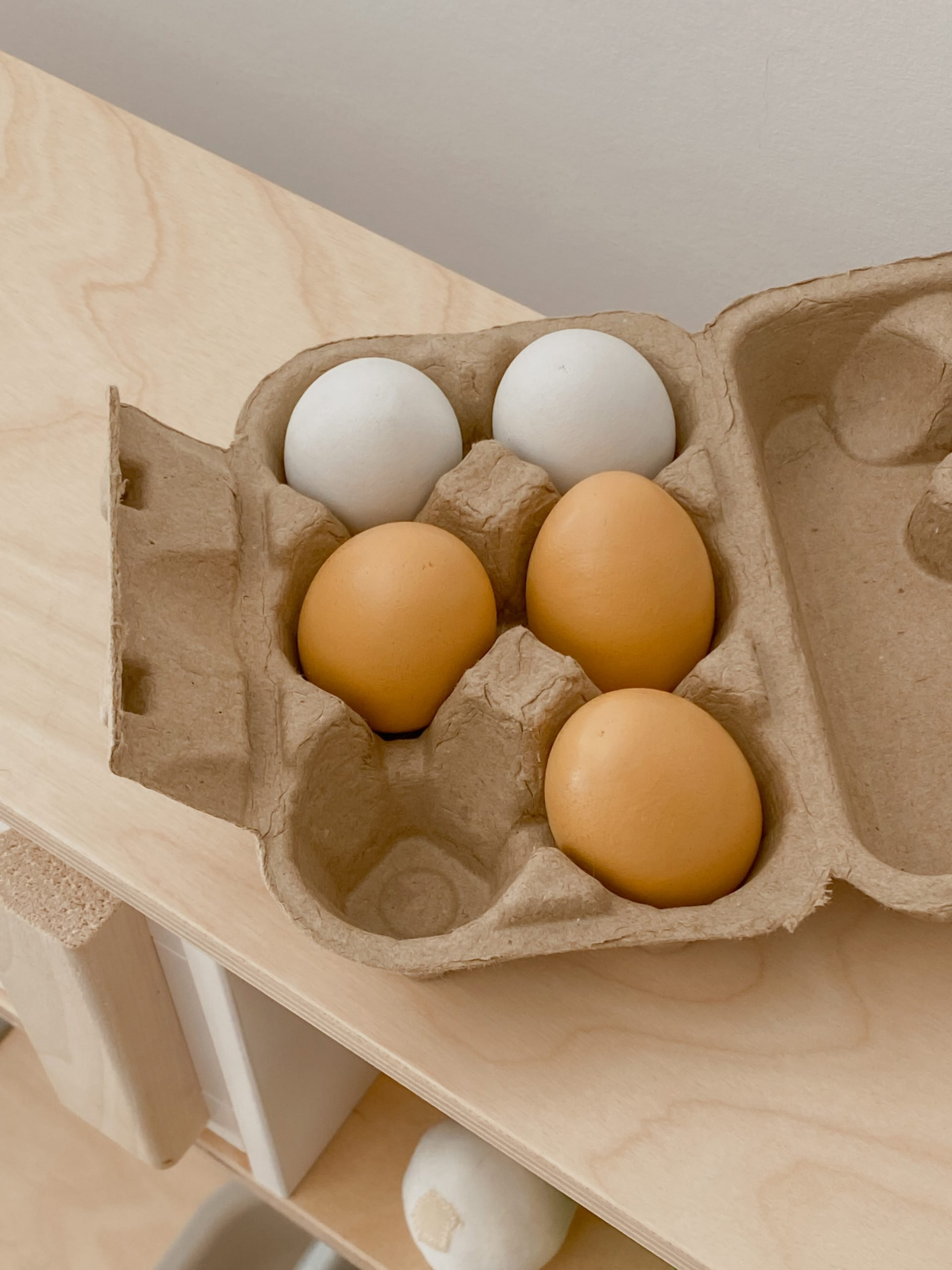 wooden play eggs